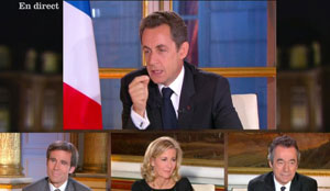 Intervention TV Sarkozy nov 2010